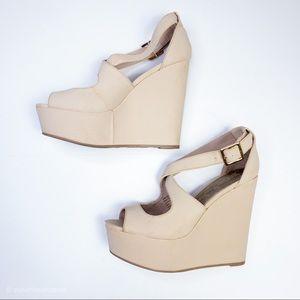 Brash Sandal Wedges in Cream Ankle Strap Summer